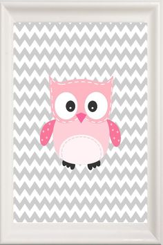Owl Nursery Art Pink and Grey Girl's Room Baby by Pinkroad457, $14.50