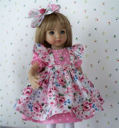"**Pretty in Pink** Dress, Pinafore, Necklace for 13"" Effner Little Darling Dolls"