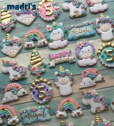 does an amazing job with her sets! So inspirational. Our cookie cutters are Siting unicorn, Fantasy Plaque, Happy Plaque and Rainbow. Thank you for the shout out! Iced Cookies, Cute Cookies, Cupcake Cookies, Royal Icing Cookies, Sugar Cookies, Unicorn Cookies, Unicorn Cupcakes, Unicorn Themed Birthday, Unicorn Party