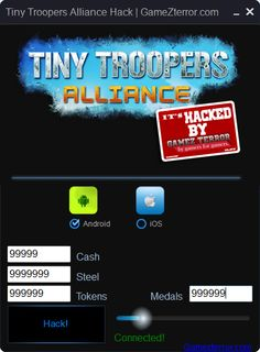 With This Tiny Troopers Alliance Hack You can add Free Cash, Steel, Tokens And Medals. Working with iOS and Android. Free Download! No ROOT or JAILBREAK! :)  http://gamezterror.com/tiny-troopers-alliance-hack-ios-android/