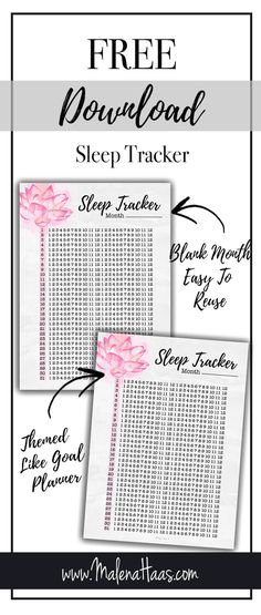 Free Printable Sleep Tracker - A5 (GM), Personal (MM) and Full US Letter sizes www.MalenaHaas.com