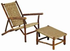 Enjoy outdoor living with this Old Hickory Sun River deck chair and Old Chairs, Deck Chairs, Dining Table Chairs, Outdoor Chairs, Rustic Outdoor Furniture, Modern Bedroom Furniture, Home Furniture, Rustic Patio, Old Hickory Furniture