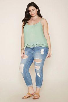 Plus Size Crochet-Hem Gauze Cami #f21plus