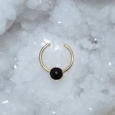 3mm Onyx Septum Cuff, Small Gold Fake Nose Ring, Hoop Earring, cartilage/helix/tragus jewelry 18g faux nose stud 18 gauge piercing