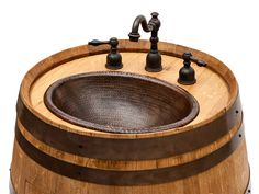 Wine Barrel Vanity made from an authentic wine barrel from Napa California, package includes copper sink
