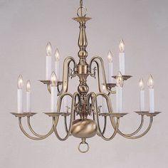 Livex Lighting�12-Light Williamsburg Antique Brass Chandelier
