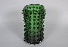 Large cylinder Empoli Verde glass vase   made in Italy