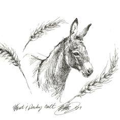 Original art work Donkey Equestrian Colt ink sketch listed by artist 8 x 6 USA #Realism