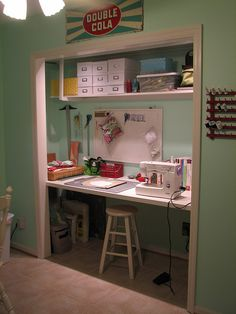 room desk I don't want to give up on the idea of a closet office just yet. How much room does a baby actually need?I don't want to give up on the idea of a closet office just yet. How much room does a baby actually need? Sewing Room Design, Sewing Spaces, Sewing Studio, Small Sewing Space, Craft Room Desk, Craft Room Storage, Craft Room Closet, Storage Area, Space Crafts