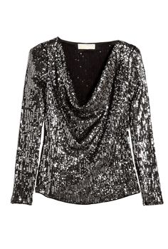 Gunmetal Long Sleeve Sequin Drape Neck Top by Michael Michae