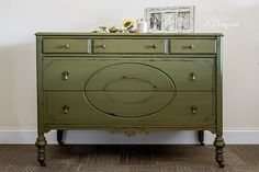 Antique Dresser painted in an olive chalk paint. Chalk painted furniture, Home decor, Farmhouse decor, Distressed Furniture.