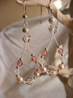 Pink Swarovski crystal and pearl earrings