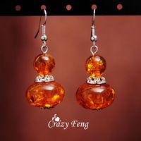 Loco Feng vendimia Retro 18 k platino plateado gota de ámbar gancho cuelga los pendientes regalos navidad para mujeres que envían libremente