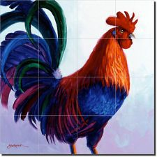 Senkarik Rooster Art Ceramic Tile Mural Backsplash
