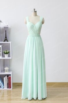 Fashion Mint green Scoop Neck Floor Length Chiffon evening dresses with Ruffle  -  $128.00 Form https://www.everisa.com/fashion-mint-green-scoop-neck-floor-length-chiffon-evening-dresses-with-ruffle