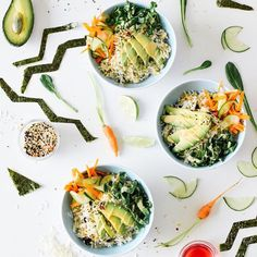 Veggie Sushi Bowl with Cucumber & Carrot Salad // @kaleandcaramel. Find this recipe and more on our Progresso Instagram Takeover Feed at http://www.thefeedfeed.com/progresso-instagram-takeovers #feedfeed