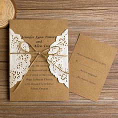 rustic wedding invitations | vintage rustic lace pocket wedding invitations EWLS002 as low as $1.79