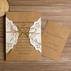 rustic wedding invitations | vintage rustic lace pocket wedding invitations EWLS002 as low as $1.79