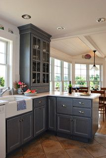 Open glass cabinets
