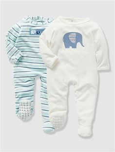 Pack of 2 Baby's Velour Sleepsuits White + sky blue stripe