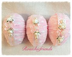 White Cottage Chic 3 Easter EGGS 3 Bowl fillers Roses