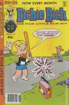 Richie Rich #191 Vintage Comic Books, Vintage Comics, Richie Rich Comics, Children's Comics, Comic Book Publishers, Rich Boy, Magazines For Kids, American Comics, Comic Book Covers