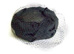 Vintage 50's Black Ladies Hat Open Pillbox by MerrilyVerilyVintage, $38.00