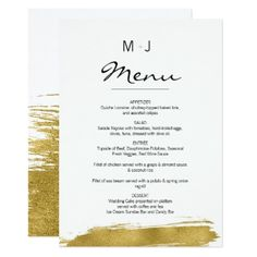 Modern Faux Gold Brushstroke Wedding Menu Card - gold wedding gifts customize marriage diy unique golden