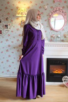 Morfistan Etek Fırfırlı Tesettür Elbise