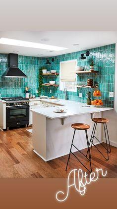 Instagram Kitchen Reno, Kitchen Backsplash, Clay Tiles, Up House, Green Kitchen, White Bathroom, Future House, Table, Furniture