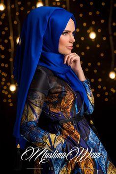 Chiffon Scarf hijab Royal Blue color with silk tassel.