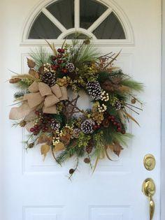 Holiday Wreath-Christmas Wreath-Hydrangea Wreath-Rustic Winter Wreath-All Season Wreath-Country Christmas-Evergreen Wreath-Designer Wreath