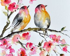 ORIGINAL Watercolor Painting - Bird and Flowers Illustration 6x8 inch