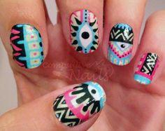 Pastel Aztec Eye pattern nail decal wraps TWO SETS $10.00