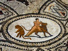 Roman mosaic. Hercules and Bull. Volubilis, Marocco