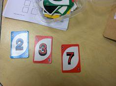 Uno Cards (Brick by Brick) - repurposing cards to teach number skills Preschool Math, Math Classroom, Kindergarten Math, Fun Math, Math Games, Teaching Math, Math Activities, Maths, Counting Games