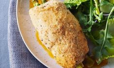 Recipes - Chicken Breasts Stuffed with Asparagus - This crispy, asparagus-stuffed variation on chicken cordon bleu is an easy main course for your next dinner party. Chicken Cordon Blue, Asparagus Recipe, Coco, Entrees, Main Dishes, Chicken Recipes, Cooking Recipes, Chicken Breasts, Recherche Google