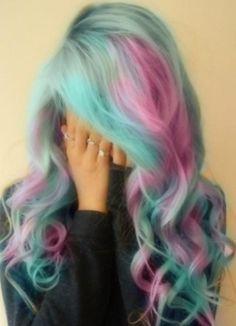 Care bear coloured hair. So cute.