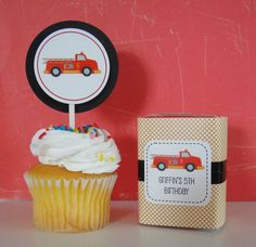 Fire Truck Cupcake Topper and Juice Box Wrap