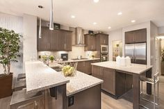 15 Contemporary Kitchen Design Ideas – Page 2 – Insider Digest Stained Kitchen Cabinets, Dark Cabinets, Interior Design Gallery, Wood Look Tile, Contemporary Kitchen Design, Kitchen Dining, Dining Room, Kitchen Lighting, Home Kitchens