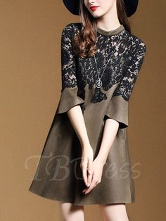 Tbdress.com offers high quality Bell Sleeve Lace Patchwork Women's Day Dress Day Dresses unit price of $ 28.99.