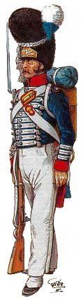 """1821 Soldato della Brigata """"Granatieri guardie"""". Gli alamari in lana bianca sono i distintivi caratteristici delle """"guardie"""" di questo periodo. I comodi pantaloni bianchi sono indossati nella stagione estiva sostituendo le calze bianche completate da mezze ghette nere."""