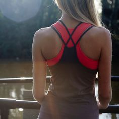 Coral Sports Bra by Striders Edge. Great for yoga and the gym!