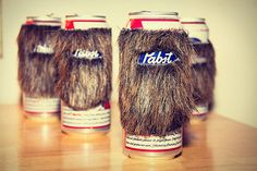 PBR Beard Coozie- ok this is NOT for a wedding but I want gare to see this and he looks at the wedding board lol
