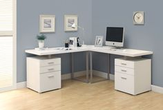 Double Pedestal Modern Computer Desk in White Finish