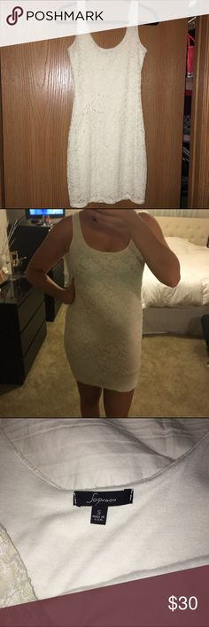 White lace body-con dress Soprano white lace body-con dress • Size S • Purchased from Nordstrom • Stretchy and super comfy! Soprano Dresses Mini