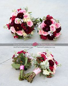 Bride and bridesmaids bouquets by A Fantasy in Flowers. Photography by Christy Whitehead