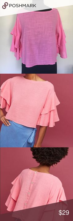 NWT Anthropologie Ruffled Top Beautiful pink  Anthropologie Lilka ruffled top. Size Large. Back buttons. Shoulder to hem 19 inches. Anthropologie Tops Blouses