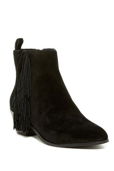 Carey Fringe Bootie by Via Spiga on @nordstrom_rack Sooo comfortable and absolutely adorable! Love the fringe!  Wore them with a short casual dress, but would also look great with a skirt, jeans, leggings or even shorts. #black #suede #boots #booties #fringe