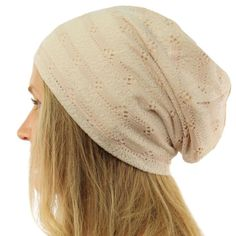 Distressed Stripe Jersey Knit Thin Lined Slouch Long Beanie Skull Hat Cap  Beige  fashion   06e550a03e2f